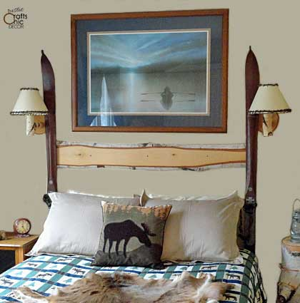 DIY headboard ideas - birch and snow ski headboard
