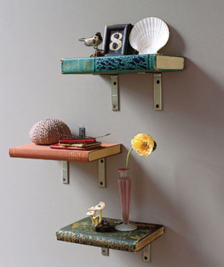 what to do with old books - shelves made from books