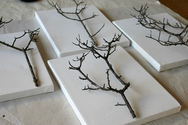 crafts with branches - branches adhered to canvas