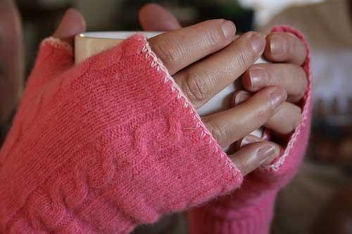 fingerless gloves made from sweater sleeves