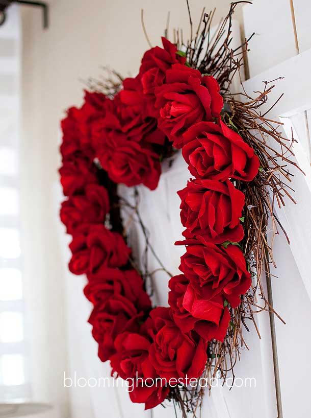 Valentine flowered heart wreath