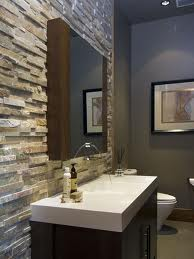 powder room ideas - textured stone on wall