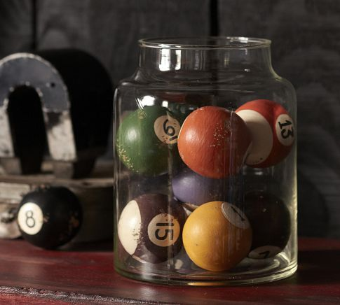 vase filler ideas - vintage pool balls