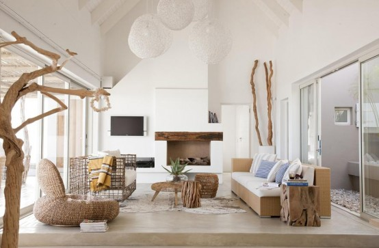 modern living room in white and rustic elements