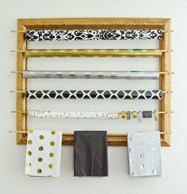 picture frame gift wrap organizer