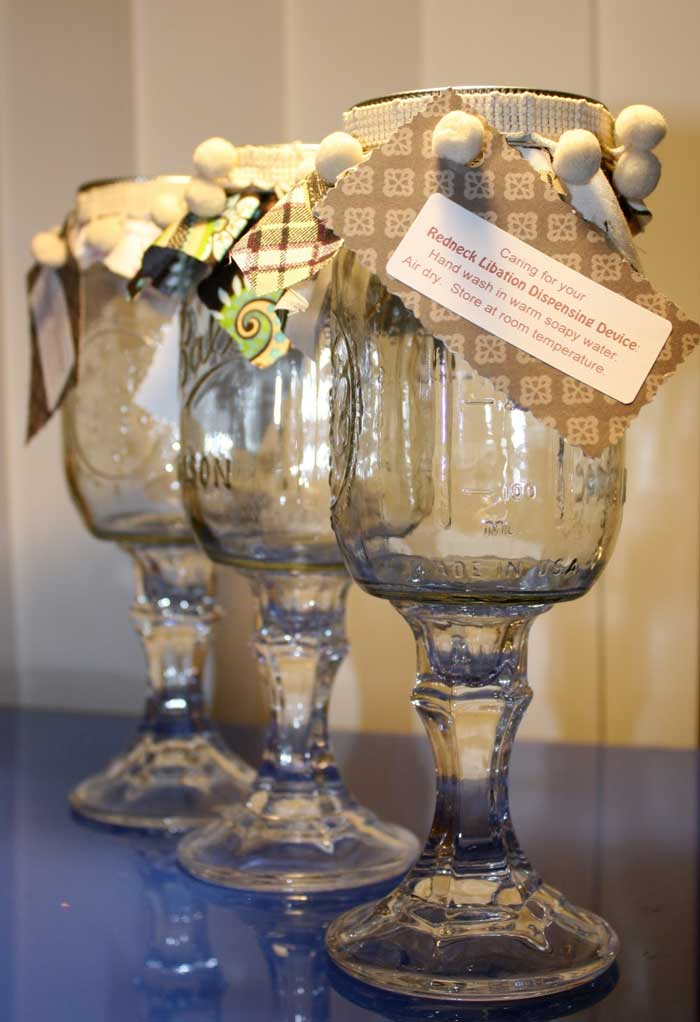 ways to repurpose - mason jar into wine glass