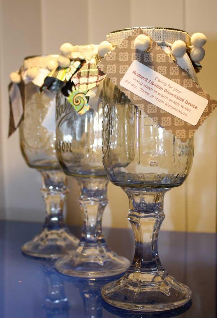 ways to repurpose - mason jar into wine glass