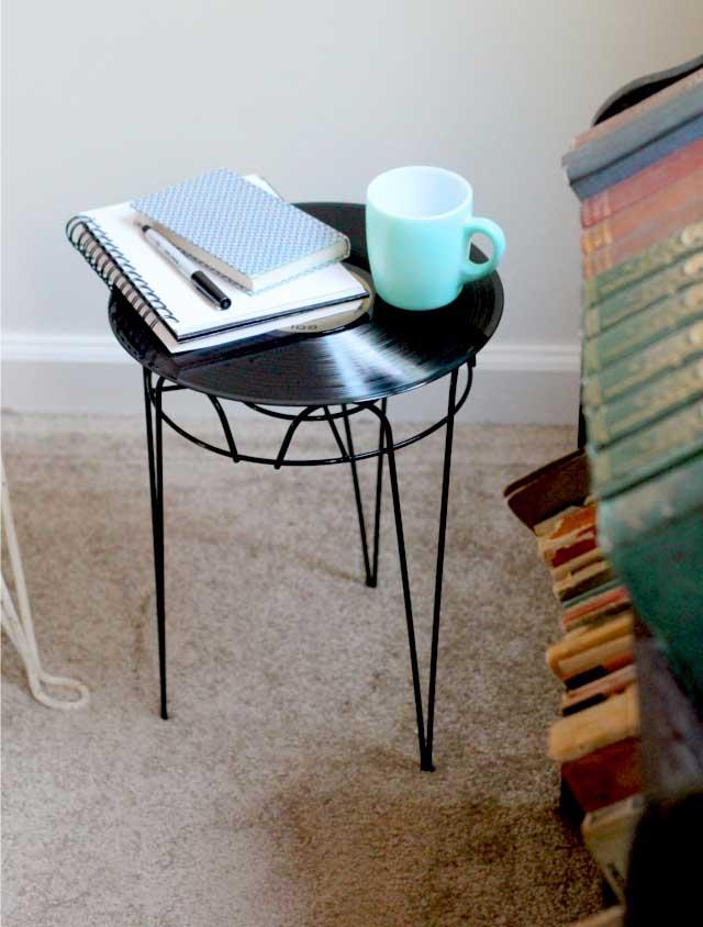 repurposed vinyl record side table