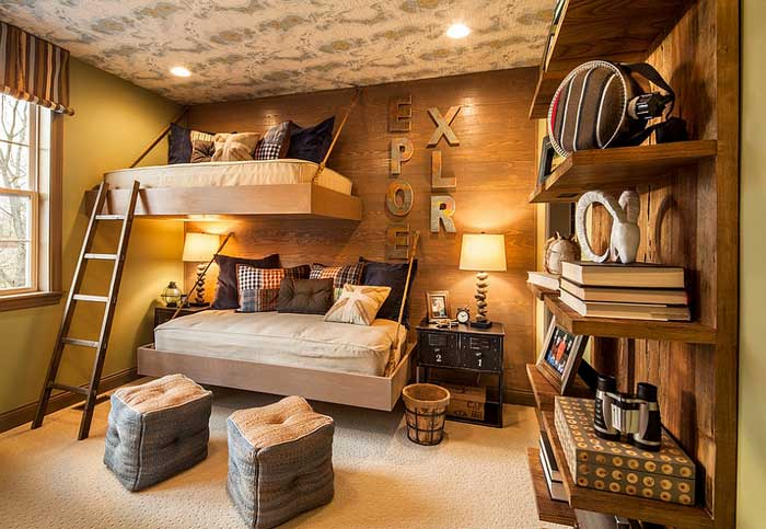 rustic bedroom for boys in camping theme