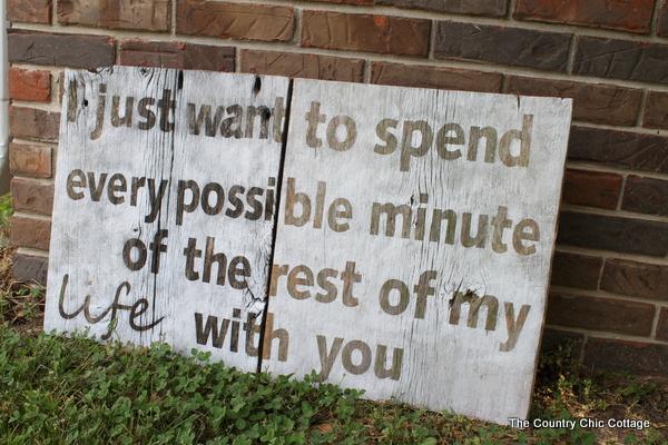 rustic valentine sign