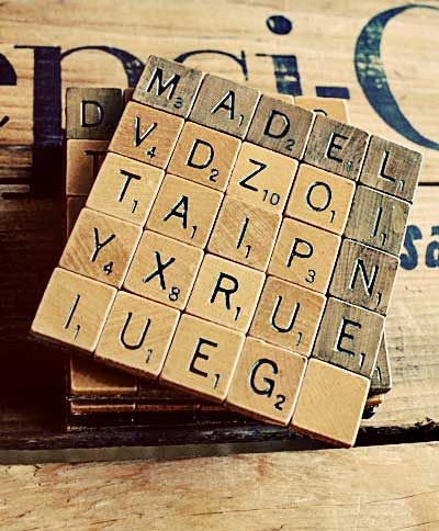 ways to repurpose - coasters made from scrabble letters