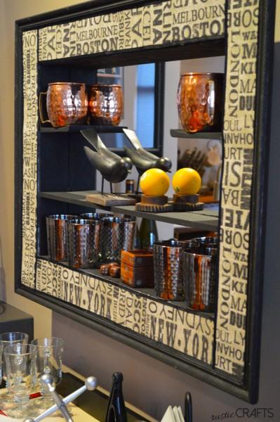 furniture makeovers - curio shelf into barware holder