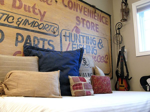 DIY headboard ideas - store sign headboard