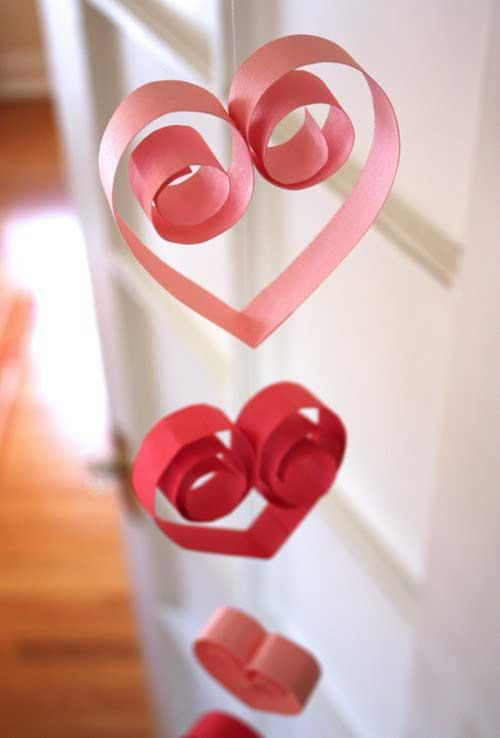 valentine paper heart garland