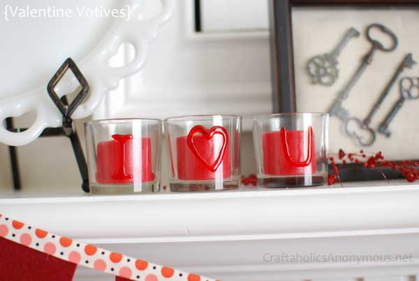 DIY valentine votive candle holders