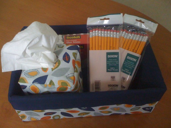 DIY storage using shoe boxes - fabric covered shoe box