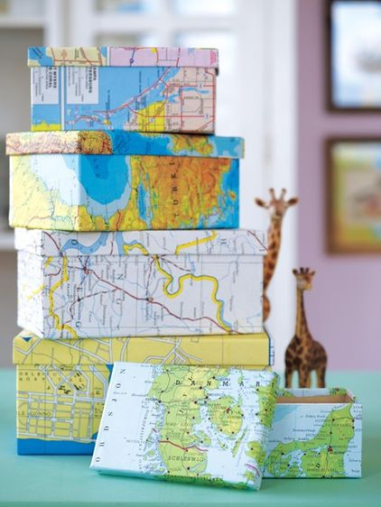 map covered shoe boxes