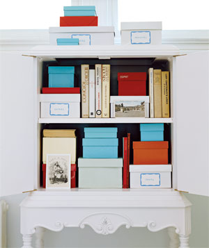 bookcase shoeboxes
