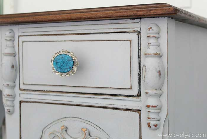 drawer pull made from vintage brooch
