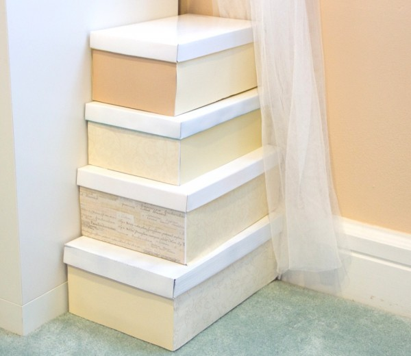 DIY storage using shoe boxes - painted shoe boxes