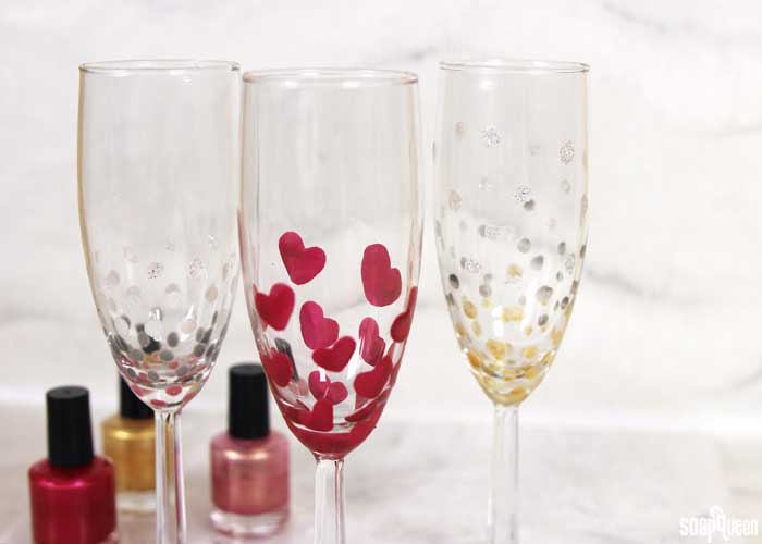 homemade valentine decorations -nail polish and champagne flutes