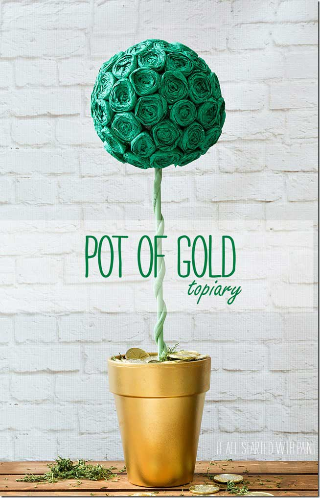 St. Patricks day crafts - pot of gold topiary