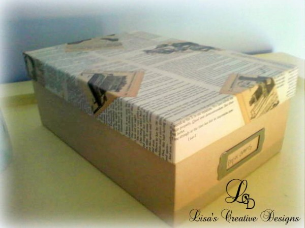 DIY storage using shoe boxes - mod podged paper shoe box