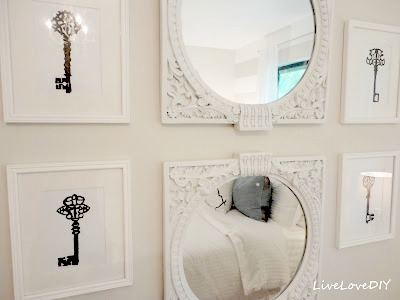 DIY wall art - skeleton key photos