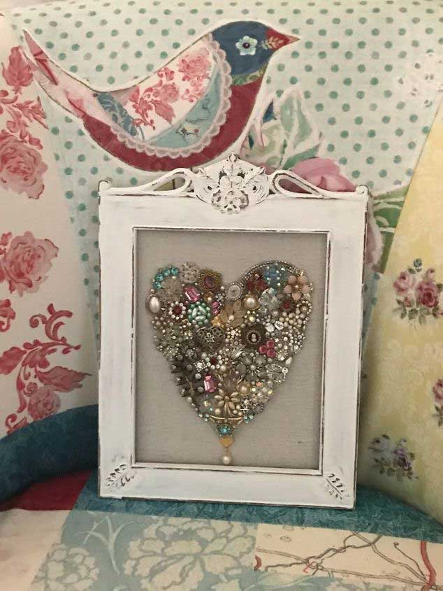 valentine framed heart made with jewelry