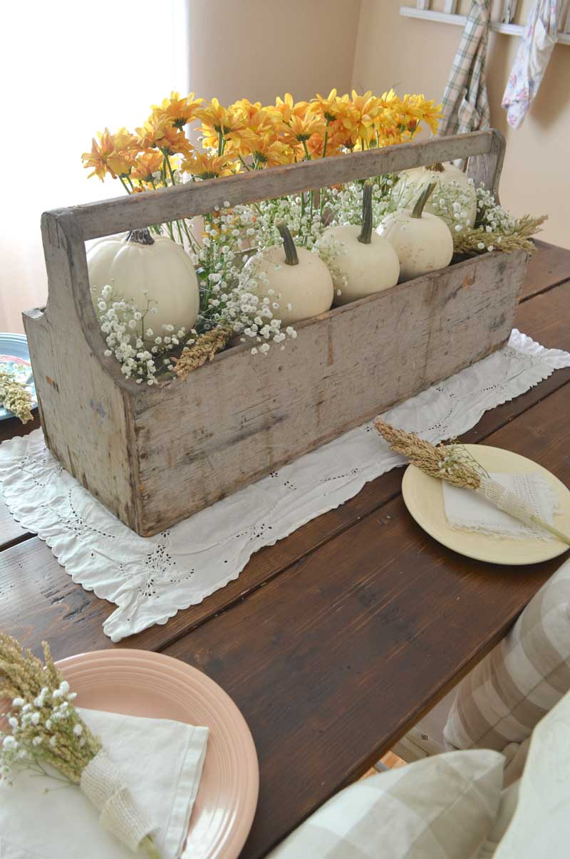 vintage wooden toolbox centerpiece