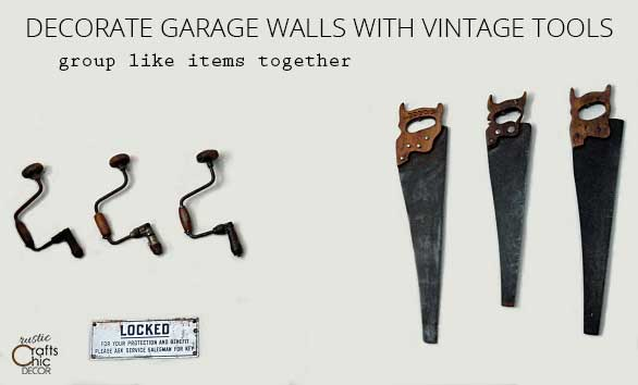 garage decorating ideas - decorate a wall with old tools