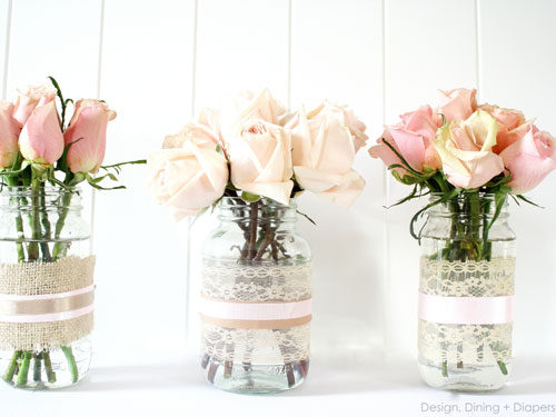 spring crafts - upcycled jar vases