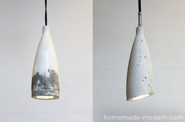 plastic bottle crafts - use a bottle as a mold for concrete pendant lights
