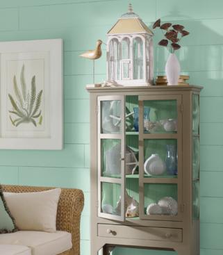 decorating with coastal colors - painted aqua shiplap wall