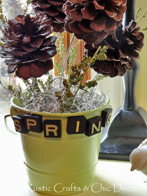 spring crafts - pine cone spring planter