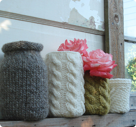 plastic bottle crafts - knitted covers for bottles