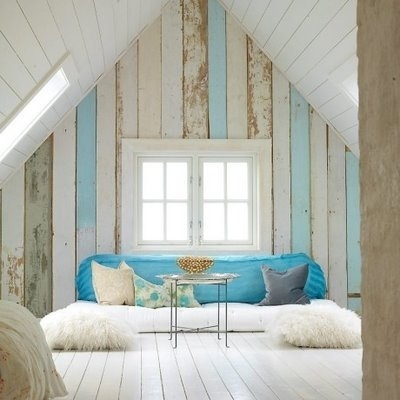 wood plank wall in coastal colors