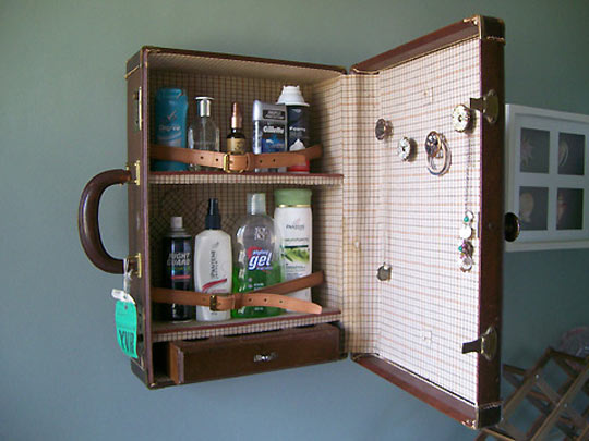 diy organization - suitcase cabinet