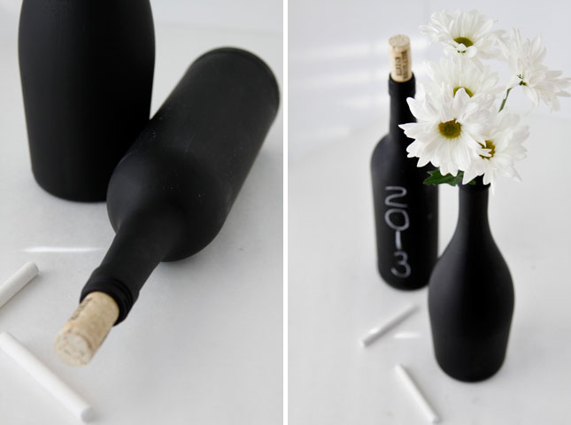 what to do with chalkboard paint - painted wine bottles