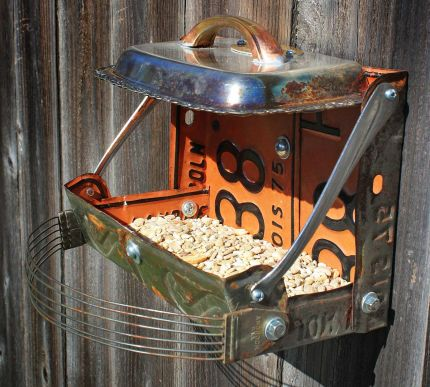 double license plate bird feeder