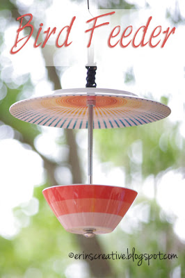 bowl and plate bird feeder diy