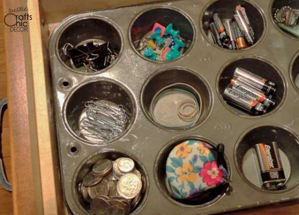 DIY organization - cupcake tin organizer