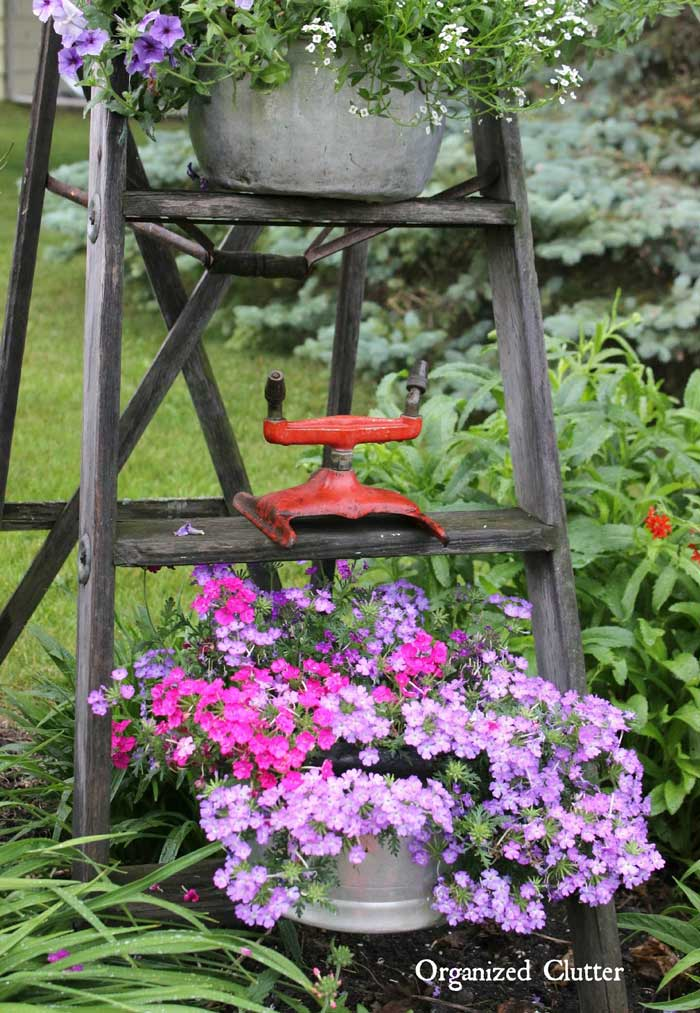 rustic garden ideas - vintage ladder plant holder