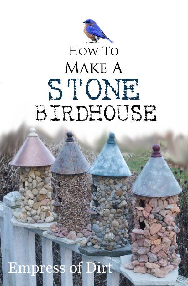 diy birdhouse ideas - stone birdhouses