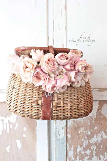DIY shabby chic for home decor - fishing creel flower holder