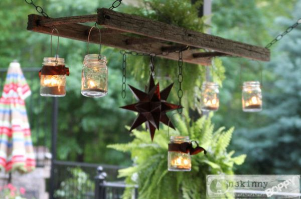 outdoor mason jar ideas - mason jar patio light