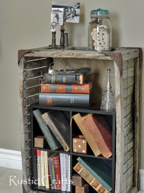 what to do with crates - rustic book shelf