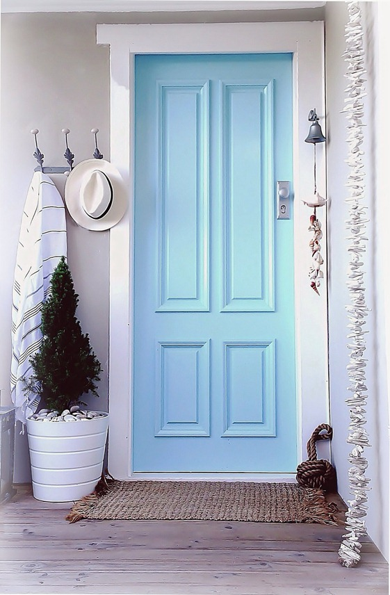 painted front doors - blue