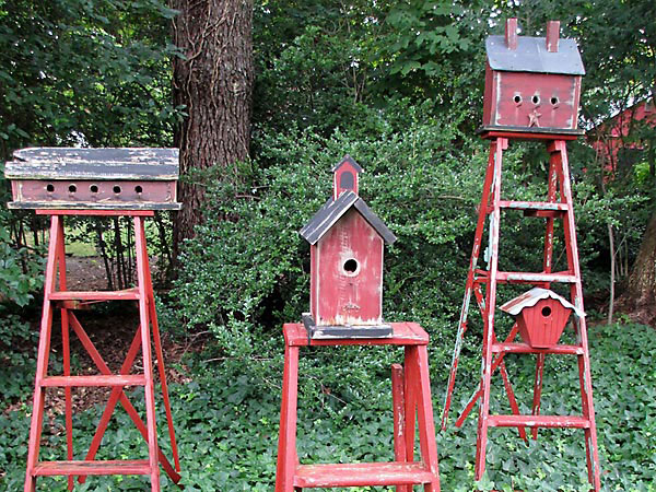 decorating with ladders - birdhouse stands