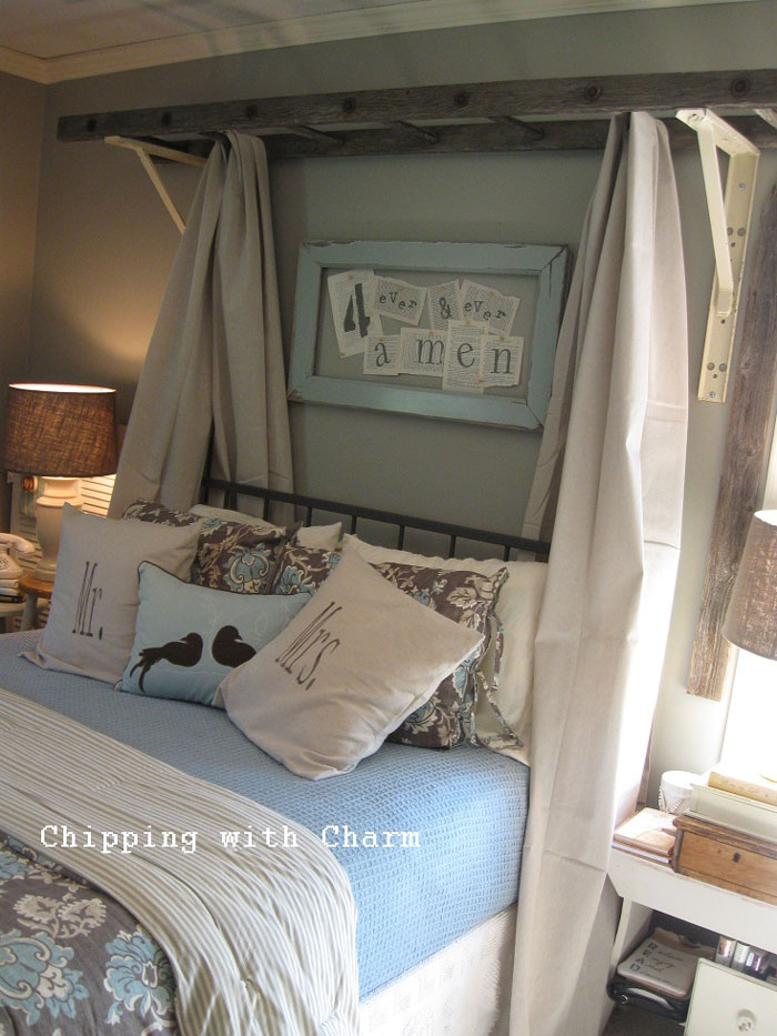 decorating with ladders - bed canopy